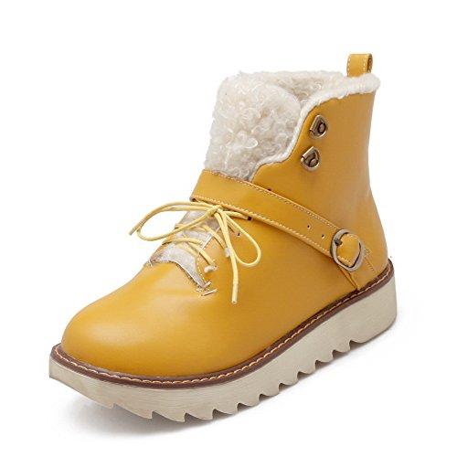 AllhqFashion Mujeres Cordones Puntera Redonda Cuña Caña Baja Sólido Botas Amarillo