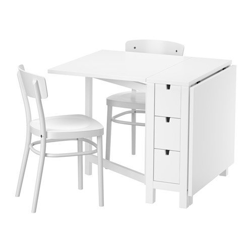 Ikea Table and 2 chairs, white, white 10204.2058.1430