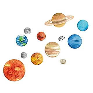 Solar System Wall Stickers, Space Wall Decals Kids Room Décor, Cute Bedroom Décor for Boys and Girls
