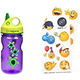 Nortwill Nalgene Kids Water Bottle Set, Nalgene Water Bottle 12oz Grip-N-Gulp BPA-Free Water Bottle with Straw - Cute Emoji Waterproof Stickers for Water Bottles (Sea Turtles - Purple + Sticker Pack)