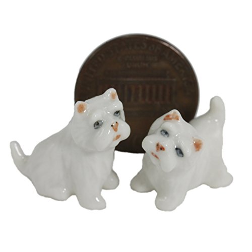 2 West Highland White Terrier Dogs Puppy Miniature Animal Statue Pottery Figurine Ceramic (1:12) ()