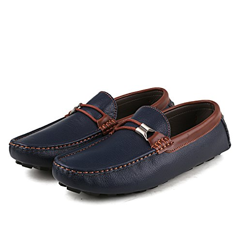 ShenDuo Herren Mokassin Freitzeit Slipper Driving Schuhe mit Metallschnallen D3358 Blau