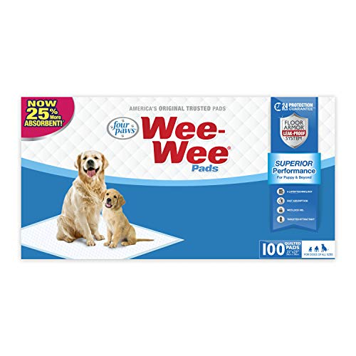(Four Paws Wee-Wee Absorbent Pads For Dogs, 100 Count, Original (Puppy): 22.5