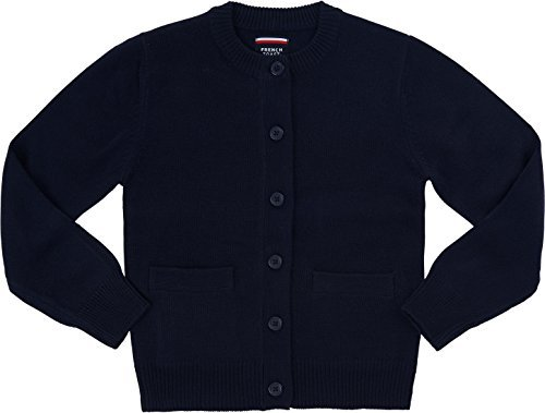 Uniform Cardigan Sweater School (French Toast School Uniform Girls Anti-Pill Crew Neck Cardigan Sweater, Navy, Large (10/12))