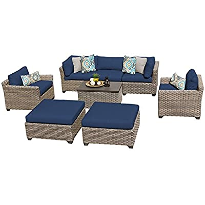 "TK Classics MONTEREY-08a-NAVY Monterey 8 Piece Outdoor Wicker Patio Furniture Set, Navy - FULLY ASSEMBLED - Seating area is ready to use and enjoy with family and friends Imported from China 32"" x 25"" x 32"" - patio-furniture, patio, conversation-sets - 41w8qbPQw5L. SS400  -"