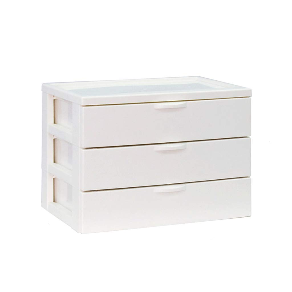 LCSHAN Desktop File Cabinet Plastic Stationery Cosmetics Small Drawer File Storage Finishing Box (Color : White) by File Shelf