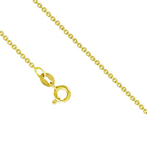 14K Yellow Gold 1.3mm Round Rolo Cable Necklace Link Spring Clasp (24 - Gold Link 14k Cable