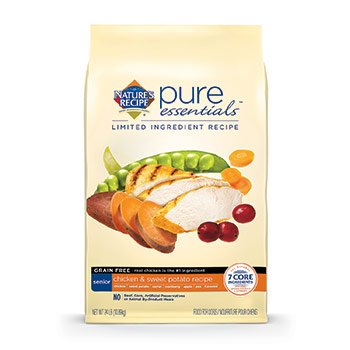 Nature's Recipe Pure Essentials Grain Free Senior Chicken and Sweet Potato Dry Dog Food, 24-Pound