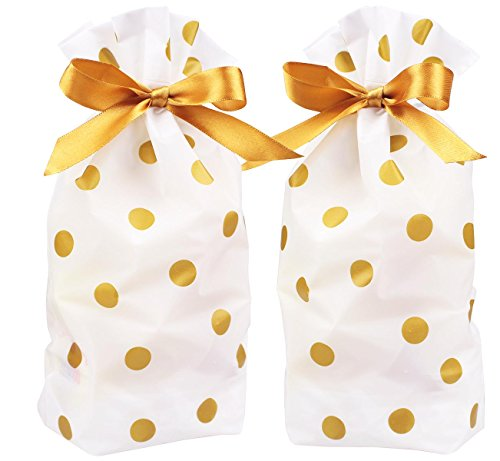 Treat Bags Gold Polka Dot Print Drawstring Plastic Party Favors Candy Bags for Cookie Roasting Treat Buffet Gift Wrapping Goodies Package, 5.9 inches x 9.2 inches,15pcs
