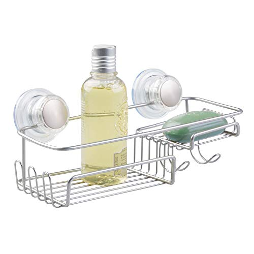 mDesign Suction Bathroom Shower Caddy Combo Basket for Shampoo, Conditioner, Soap - Silver