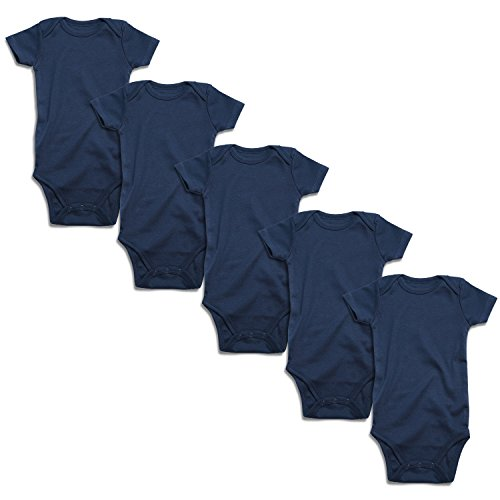 ROMPERINBOX Place Unisex Baby Bodysuits 100% Cotton Boys Girls 0-24 Months (Navy Short Sleeve 5 Pack, 0-3 Months)