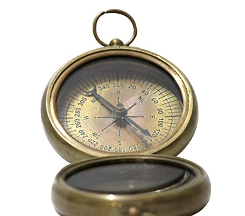 Collectibles Buy Nautical Vintage Antique Finish Compass, 2.2 inches, Shiny Brass Finish Compass ()