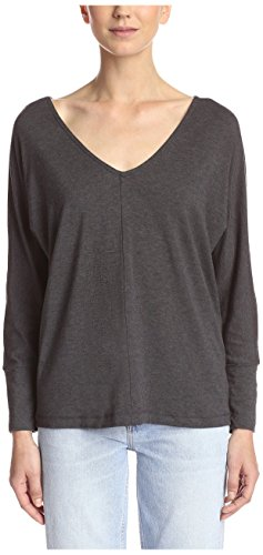 Splendid Women's Double V Long Sleeve Top, Charcoal, L