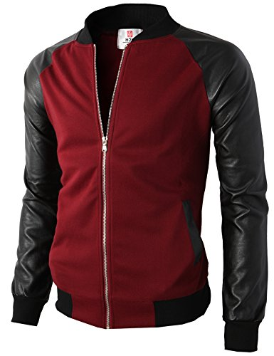 (H2H Men's Leather Varsity Baseball Bomber Jacket of Various Styles Wine US M/Asia L (KMOJA0126) )