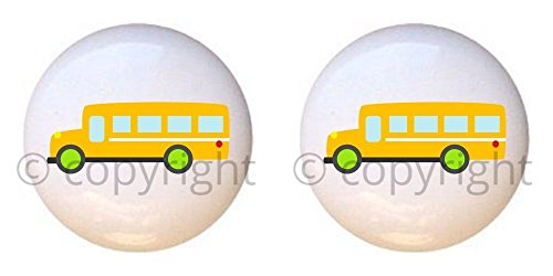 SET OF 2 KNOBS - Yellow School Bus - Transportation I by PP - DECORATIVE Glossy CERAMIC Cupboard Cabinet PULLS Dresser Drawer KNOBS