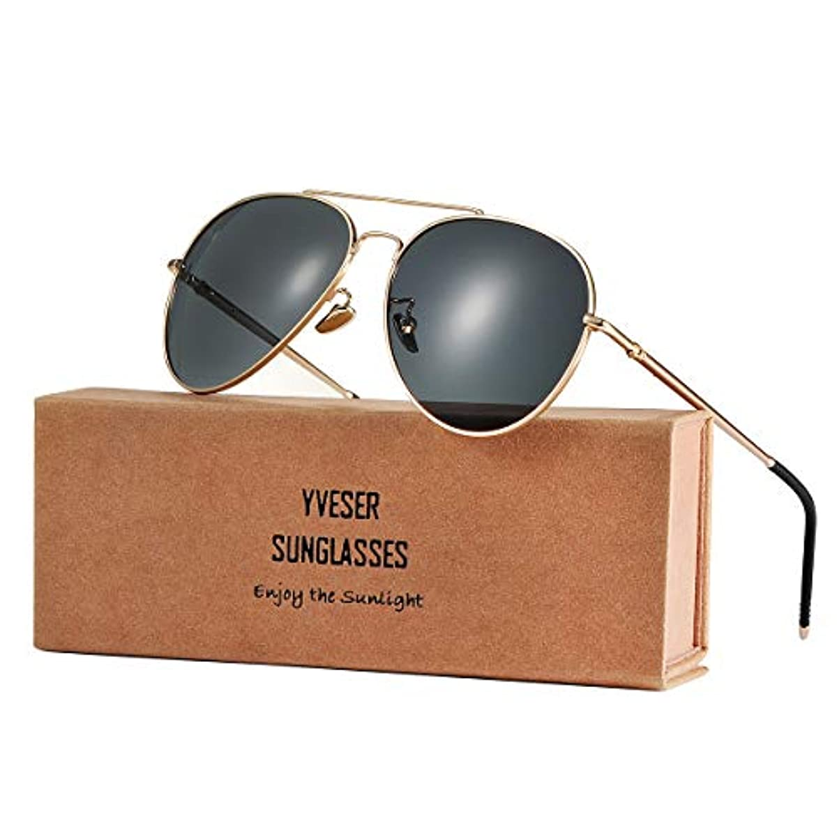 [해외] YVESER 맨즈 & 레이디스UV400 편광 썬글라스 YV1816초경량 마그네슘 알루미늄 합성피혁금 썬글라스; 안경의 팔은 180도에 굽힐 수 있습니다