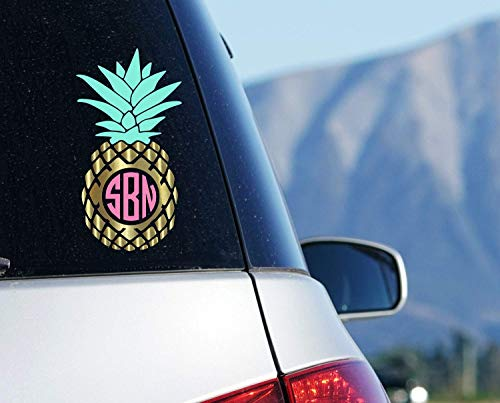 (Pineapple Monogram Car Decal, Tropical Initials Sticker for Window, Your Choice of Size and)