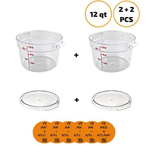 Cambro RFSCW12135 Camwear 12 Qt. Clear Round Food Storage Container (2 pcs) with Cambro RFSCWC12135 Clear Round Lid (2 pcs) - w/coasters