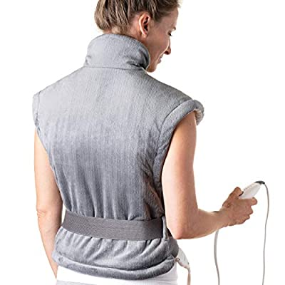 Pure Enrichment PureRelief XL Extra-Long Back & Neck Heating Pad - Fast-Heating Technology Contoured for Neck, Back and Shoulder Heat Therapy with Magnetic Closure, Adjustable Belt and Storage Bag