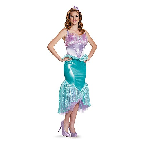 Disney Disguise Women's Ariel Deluxe Adult Costume, Multi, Large (Adult Little Mermaid Halloween Costume)