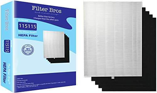 (115115 True HEPA Replacement Filter 'A' Combo for Winix Plasmawave Series Home Air Cleaner Purifiers(6300, P300, 5300, 5500, 5500-2, 5300-2, 6300-2, 9500, C535) Plus 4 Carbon Odor Reducing Pre-Filters)