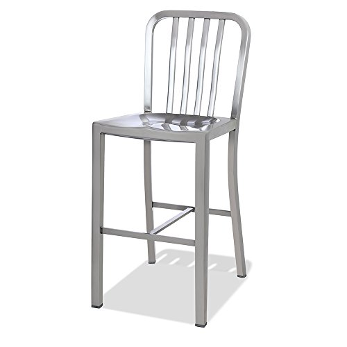 CHAIR DEPOTS Kupa Stainless Steel Counter Stool, Satin Brushed Finish