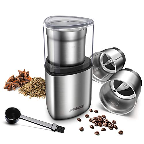 SHARDOR Coffee Grinder Electric, Spice Grinder Electric, Wet Grinder for Spices and Seeds with 2 Removable Stainless…