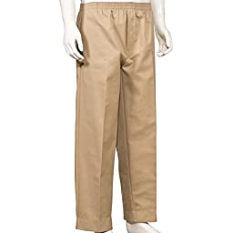 Mens Full Elastic Waist Pants with Mock Fly (2X, Khaki)