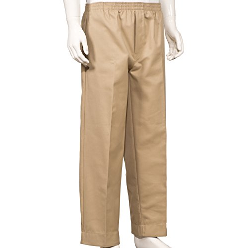Mens Full Elastic Waist Pants with Mock Fly (L, Khaki)