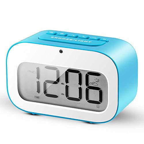 Alarm Clock, LED Emoji Travel Alarm Clock / Smart Desk Clock / Candy-Colored Digital Clock for Kids Battery Operated (Blue)