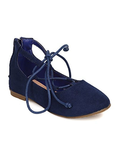 Price comparison product image Betani FB81 Faux Suede Gilly Tie Ballerina Flat (Toddler Girl / Little Girl) - Royal Blue (Size: Toddler 6)