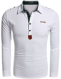 Men's Long Sleeve Polo Shirt Casual Slim Fit Classic Golf Polo T Shirts