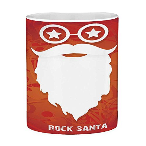 Funny Coffee Mug with Quote Indie 11 Ounces Funny Coffee Mug Rock Santa Claus Christmas Theme Beard Silhouette and Round Glasses with Stars Decorative Red Orange White