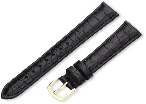 Hadley-Roma Men's MSM717RA 170 17-mm Black Crocodile Grained Leather Watch Strap