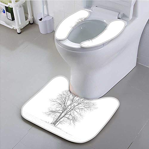 UHOO2018 Non-Slip Bath Toilet Mat Majestic Tree in Snow Storm Suit for The Toilet ()