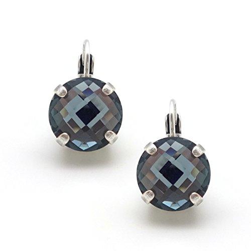 Mariana Silver Plated Swarovski Crystal Earrings Checkerboard Cut Denim Blue 266