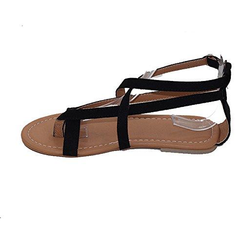 WINWINTOM Womens Ladies Flat Wedge Espadrille Rome Tie up Sandals Platform Summer Shoes Black gbPzF
