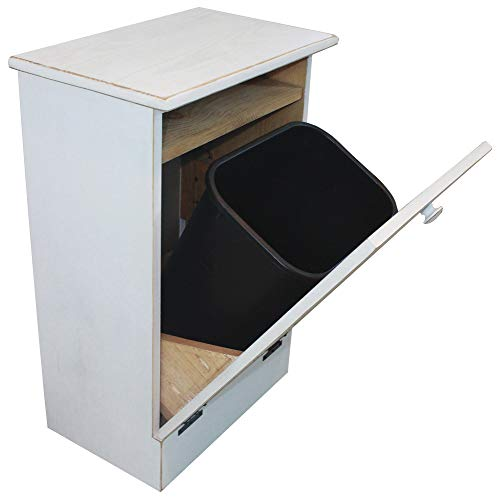 Microwave Stand with Tilt-Out Trash Bin (Old Cottage White)