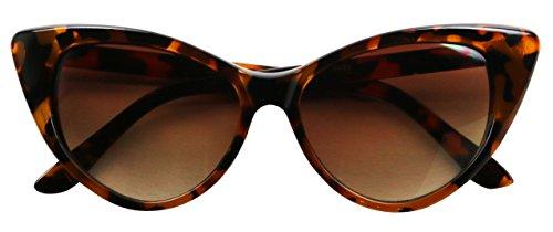 Basik Eyewear - Exaggerated High Pointed Tip Rockabilly Cat Eye Slim Vintage Sunglasses (Tortoise, 5 - Kim K Cat