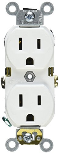 Leviton M24-BR15-WMP 10 Count 15 Amp 125V Narrow Body Duplex Outlet Receptacle by Leviton (125v Narrow Body)