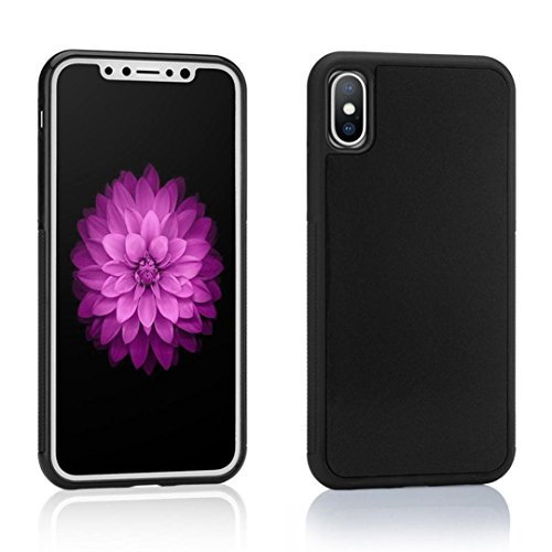 MChoice Hands Free Magical Nano Suction Anti Gravity Phone Case for iPhone X 5.8inch (Black)