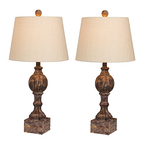 Cory Martin W-6239CABR-2PK Fangio Lighting's #6239CABR-2PK 26.5 in. Pair of Distressed, Sculpted Column Resin Table Lamps in a Cottage Antique Brown Finish, 2 Piece - Fangio Lighting Resin