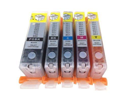 Discountinkllc Refillable ink cartridge for Canon PGI-250 CLI-251 PIXMA MG5420 5422 5520 MX722