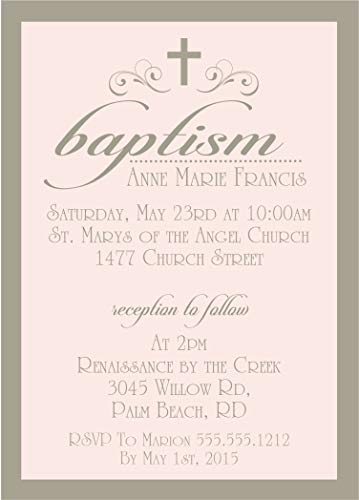 Girls Blush Personalized Baptism, Christening, First Communion or Baby Dedication Invitations