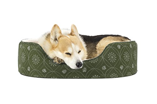 Furhaven Pet Dog Bed | Print Flannel Oval Pet Bed for Dogs &