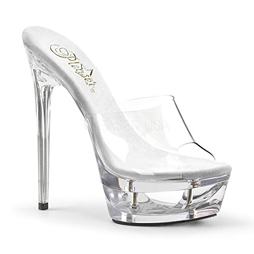 Pleaser Women's Eclipse-601 Platform Slide Clear/Clear