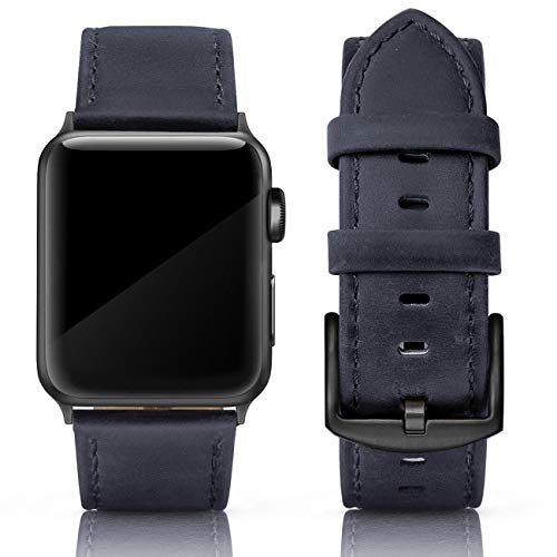 (SWEES Leather Band Compatible for iWatch 42mm 44mm, Genuine Leather Strap Wristband Black Buckle Compatible iWatch Series 4, Series 3, Series 2, Series 1, Sports & Edition Men, Yale Blue )
