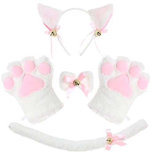 JustinCostume Cat Cosplay Set Ears Tail Collar Paws (White 2)