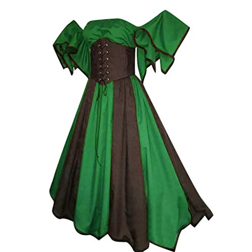 - Sherostore ♡ Renaissance Victorian Medieval Eyelet Off Shoulder Bohemian Lace Up Peasant Gown Maxi Dress Green