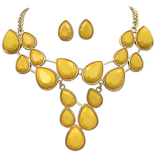Gypsy Jewels Bright Abstract Bib Statement Boutique Necklace & Earrings Set - Assorted Colors (Yellow)